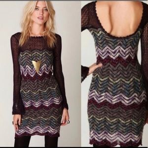 Free People Chevron Knit Dress Small